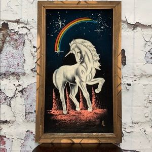 Vintage MCM unicorn on velvet wall art